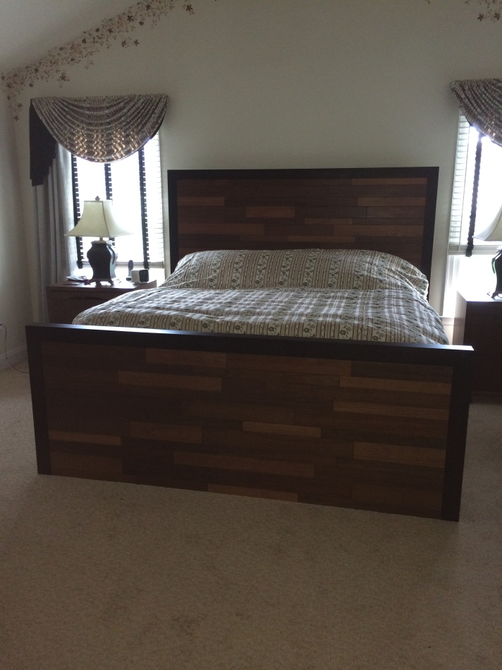 Custom bed designed using different wood and stain combinations.